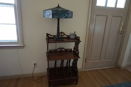 old shelf unit, stained glass table lamp