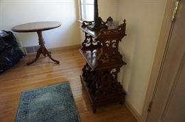 Walnut round table, antique shelf unit