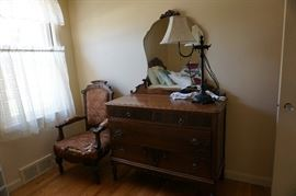 lamp, chair, dresser w/ mirror
