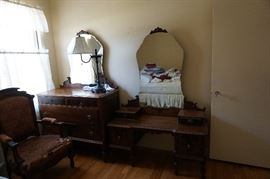 bedroom set, vanity, dresser w/ mirror, Eastlake chair