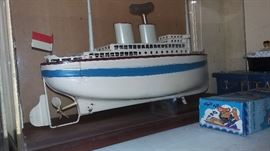 German, metal, wind up, pond boat in custom glass case