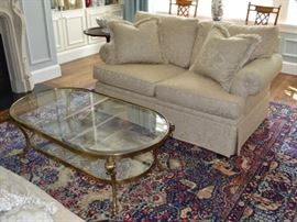 Henredon loveseat and glass cocktail table