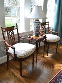 Pair of caned seat chairs