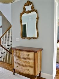 Gilt mirror and Theodore Alexander 3-drawer chest
