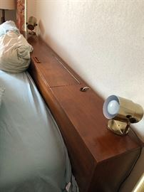 Top of King headboard - lights attached and storage