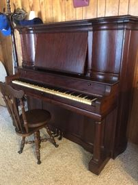 Antique Piano & Stool (Tuning Pine Fastening Patented June 15 1886 November 11 1902)
