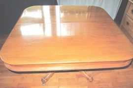 Fine walnut dining table with concealed center support leg. Sorry no leaves.