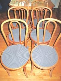 Set of six signed Thonet bentwood chairs.