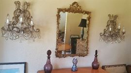 gorgeous gilt mirror and glass ware