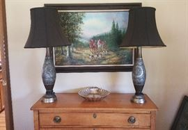unusual pair of lamps with shades...large and handsome fox hunt print...silver plate shell bowl