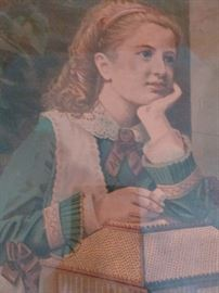 Very old print in frame that has square nails in it. Painting unknown.