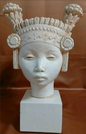 1960's Signed FRED PRESS Mid Century Modern Egyptian Lady Bust Glazed Plaster