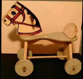 Primitive hand made childlren's toy riding horse approximately 1940's
