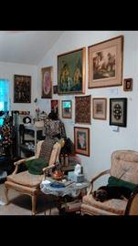 various paintings, prints, bead work & jewelry