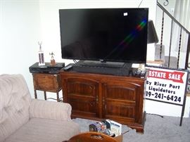 FLAT-SCREEN TV,  TWO-DOOR CABINET,  SMALL STAND & VCR