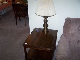 BRASS LAMP & SMALL TABLE