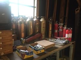 vintage brass and copper fire extinguishers