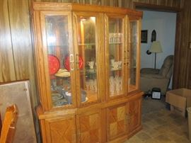 lighted china cabinet; top piece comes off for easy moving