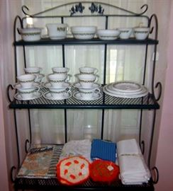 Bakers Rack & Corelle