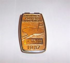 1987 TPC Patron Badge )Goldtone Metal)