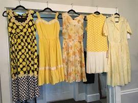 Yellow dresses 1950s-1970s