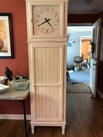 Clock Cabinet with Wine Glass Rack