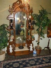 Victorian walnut etagere entry piece with good marble, mirrors and trim.