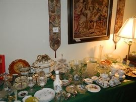 More pottery, glassware, framed reproduction tapestry and two bell pulls