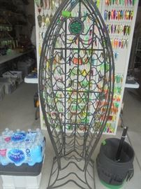 Huge wrought iron wine rack. We will use it for hanging more lures