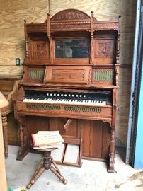 Antique Kimball pump organ with stool and music, circa 1890's Chicago $550