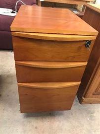 3 drawer Teak Wood Levenger file cabinet with keys $100