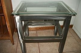 Glass top Industrial table great for turntable