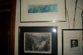 Vintage pencil signed prints