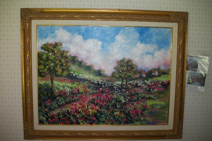 """Ann Copland  """"Red Fields"""" signed Oil on Canvas 30x40"""