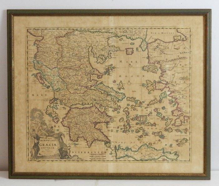 Original 1680 Map of Greece Federick de Wit