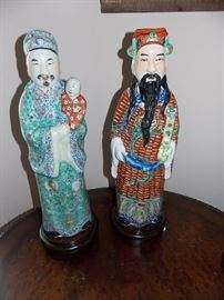 Tall Antique Chinese Porcelain Figurines Lu Xing and Fu Xing- around 1.5 ft tall  (need to measure for exact)