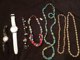 Cloisonne, Turquoise, and Silver Necklaces,  Brighton and Dooney and Bourke watches
