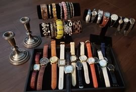 Watches, sterling silver candlesticks and costume jewelry