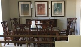 Bernhardt Dining Room Table, 8 Chairs, Sears 12, & Buffet.$2000