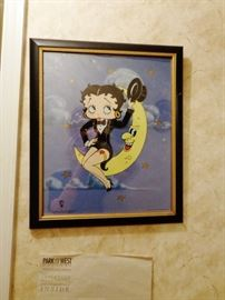 Betty Boop sitting on the Moon with COA
