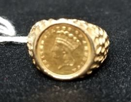 1862 $1 gold coin in 14K gold ring