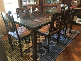 "42"" x 72"" Metal glass top dining table & 6 chairs - Custom Southwestern design"