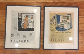 Vintage framed ads for Hoosier cabinets