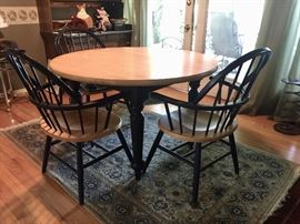 "48"" dining table w/4 matching chairs (color is dark blue)"