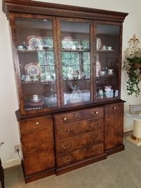 Burled wood China hutch