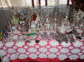 Sterling silver, salts, some figurines