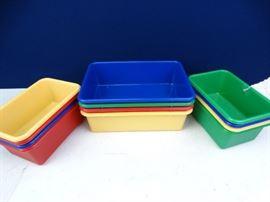 12 Assorted Multi Colored Plastic Bins