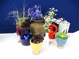 8 Assorted Decorative Faux Plants