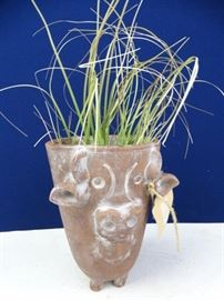 Clay Cow Planter with Faux Plant (2)