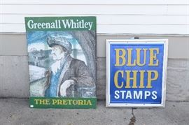 Unusual single sided breweriana with textured finish and a single sided tin Blue Chip Stamps sign.